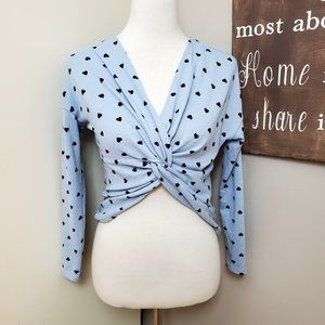 NWT Candie's Reversible Twist Heart Print Sweater